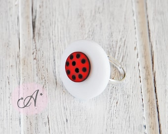 Ring white and red, ladybug, red button with black polka dots on a big white button, red and white ring, Adjustable ring