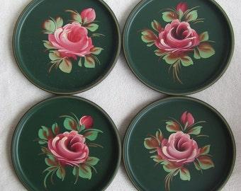 4 Vintage Tole Metal Handpainted Rose Tin Plates