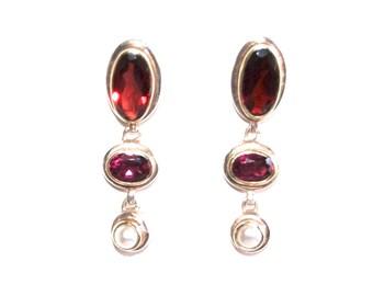 Dangle Earrings Pearl Ruby Garnet Vintage Victorian Style Amethyst Garnet Pearl Drop Earrings Boho Jewelry