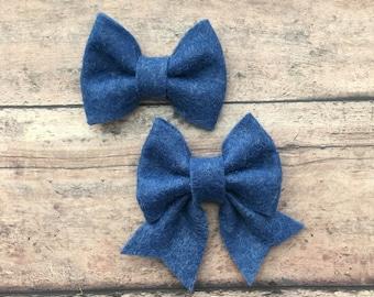 Denim Blue Felt Bow on Metal Clip, Hair Tie, or Elastic Headband; Buy 3 Get 1 Free! Small Felt Hair Bow, Denim Blue Hair Bow, Blue Felt Bow