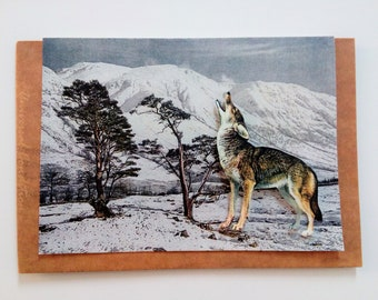 Howling Wolf Collage Greeting Card