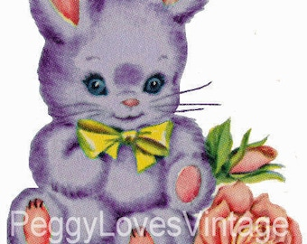 Puple Bunny with Yellow Bow Digital Image from Vintage Greeting Cards - Instant Download