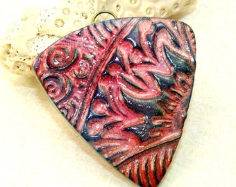 Polymer clay faux ceramic pendant, focal pendant, 46mm, red, blue, shield, hippie, boho chic, aged worn rustic, jewelry design