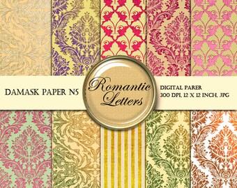 Damask Digital paper pack digital scrapbooking paper background Vintage