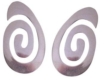 Sterling Modernist pierced Earrings
