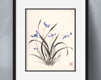 Orchid Splatter - Flowers sumi-e watercolor painting - 8x10 (Print)