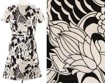 Size 8 60s Dress - Black & White Floral Cotton Dress - Summer 60's Sheath Dress - Short Sleeved - As Is - With Belt - Bust 36 - 49626
