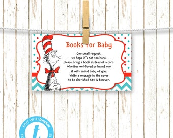 Dr. Suess | Cat in Hat Baby Shower Insert | Printable Digital File | Instant Download | Templett | BSI242Book