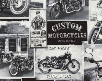 Timeless Treasures - Vintage Motorcycle News - C3646 - Motorcycles - Vintage - Summer - Ride - Words - One More Yard