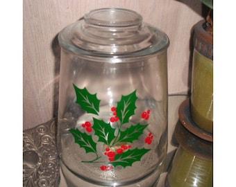 Deck the Halls ... vintage Holly Cookie Jar .... Christmas Holiday storage ... vintage glass