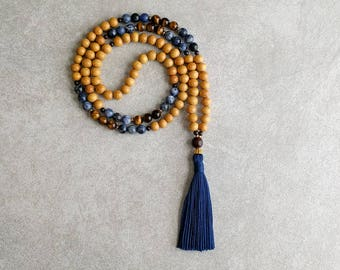 Nangka Mala Beads with Sodalite - Meditation Necklace - Solar Plexus - 3rd Chakra - Karma Beads - Item # 913