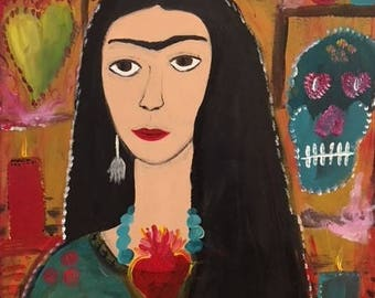 Large Frida Kahlo Painting in tribute to her