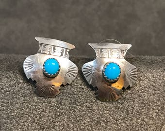 Vintage Sterling Silver Turquoise Signed JB Native American Southwest Earrings, handmade 925 silver studs