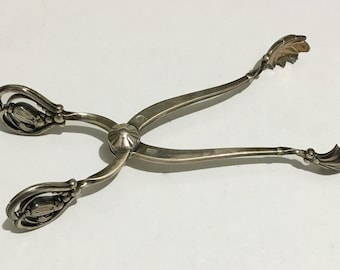 "Georg Jensen ""Blossom"" Pattern Sterling Silver Ice Tongs    1919-1927   5-1/2""  over 2 ozs  designed by Georg Jensen himself  very desirable"