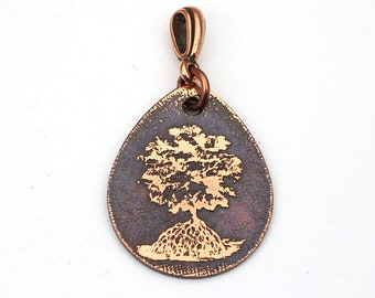 Copper tree pendant, flat teardrop shape, Cynthia Thornton design, etched metal, 29mm