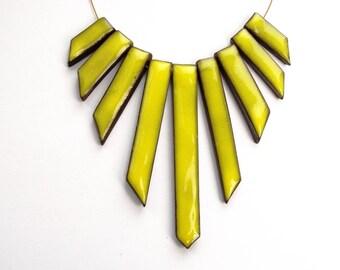 yellow statement necklace, cascade triangle necklace, festival jewelry, triangle beads pendant, geometric boho hippie, eye-catching, OOAK
