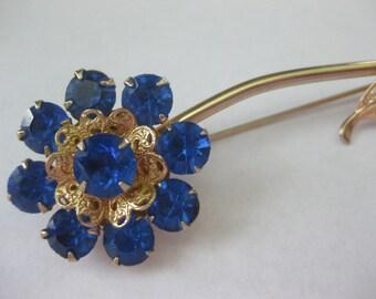 "Royal Blue Crystal Rhinestone Filigree Brooch Long Stem Flower 4"" Vintage"