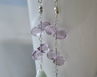 Amethyst and Amazonite Long Dangle Earrings Handmade Wire Wrapped