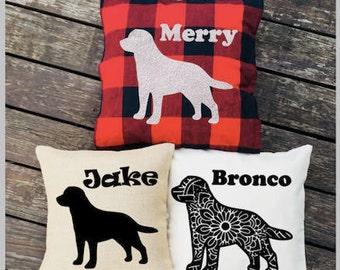 Personalized Labrador Retriever Pillow - Silhouette Pillow - Dog Pillow Cover - Burlap Pillow - Buffalo Plaid Pillow - Decorative Pillow