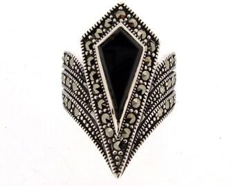 Art Deco Ring Silver Black Marcasite