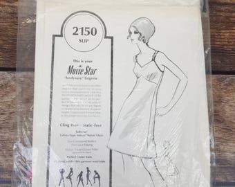 Movie Star Slip Full Slip Vintage Slip White Slip Nylon Slip Dress Slip Vintage Lingerie Vintage Full Slip 34 Short Pin Up