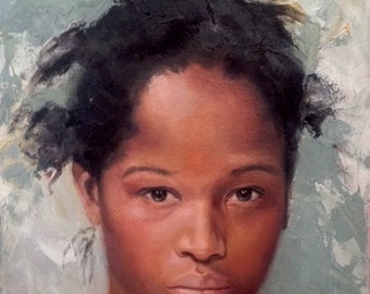 Giclee Reproduction Print of Original Oil Paint  African American Girl