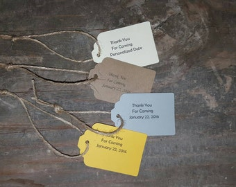Thank You for Coming Tags with a personalized date with Jute Twine 10-Pack