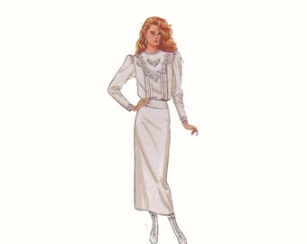 Jessica McClintock Edwardian Victorian style wedding dress vintage sewing pattern Simplicity 8224 Sz 14