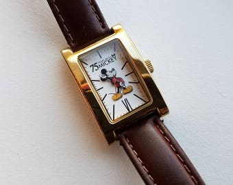 Mickey Mouse 75 Anniversary Watch with Brown Leather Band