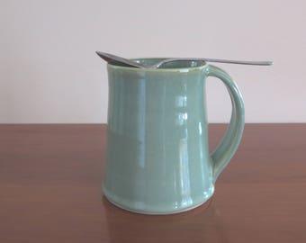 Mug Handmade Tankard Style Pottery Porcelain Stoneware Coffee Mug Tea Cup Jade Green Kitchen Decor Holds 16 Ounces
