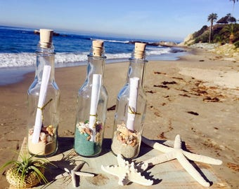 Message In A Bottle Favors / Wedding Favors / Party Favors / Wedding Invitations / Beach Decor