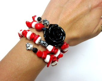 Sugar Skull Bracelet Day Of The Dead Jewelry Rose Red Black White