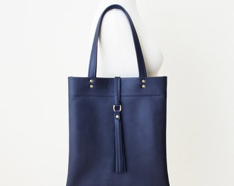 Navy Leather Tote, Navy Everyday Bag, Minimal Leather Tote with Tassel, Blue Leather Bag, Navy Leather Laptop Tote, Navy Leather Zipper Tote