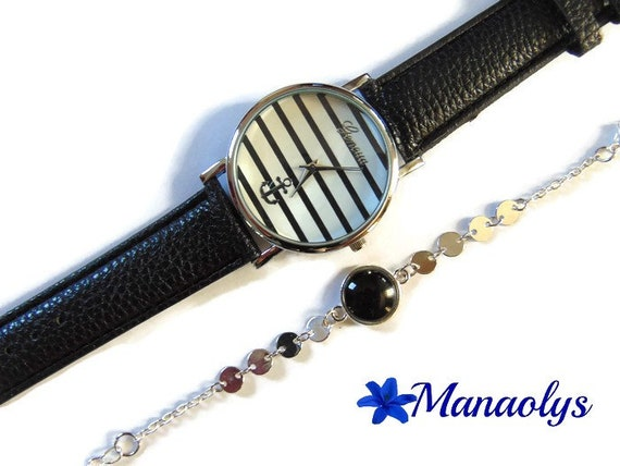 Anchor watch and lines and bracelet fine glass cabochon black, silver chains, gift idea, mother's day, birthday