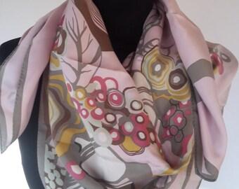 "Vintage pure silk scarf -  87 x 87 cm / 34.25 x 34.25 "" - Italy Italian-"