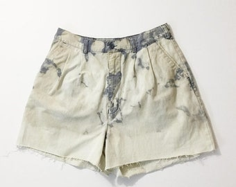 SALE Vtg Cut offs, vtg cut off shorts, bleach dyed shorts, womans cut offs, distressed shorts, destroyed shorts
