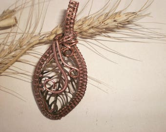 Copper Pendant, Wire Wrapped Unique Pendant, Wire wrapped jewelry, wire pendant. Author's pendant, Wire Wrapped Necklace, Copper Necklace