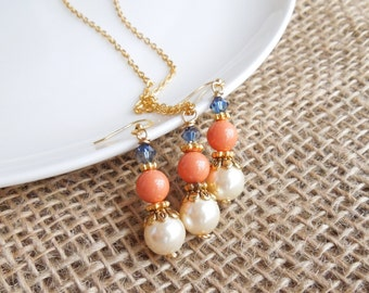 Navy and Coral Jewelry Set - Necklace and Earrings - Dark Blue, Salmon and Cream Set Pearls and Swarovski Crystal - Gold
