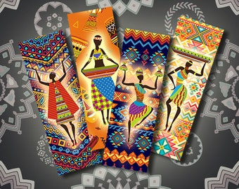 Bookmarks African printable, Digital Collage Sheet, Download and Print Jpeg Images 1.7x5 inch