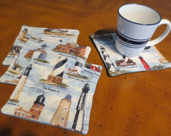 Lighthouse Coasters, Set of 4 Cotton Fabric Coasters, Quilted and Reversible