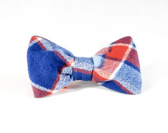 Red White and Blue Americana Plaid Flannel Patriotic Pup Dog Bow Tie