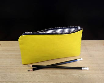 Yellow pencil case, Small yellow pouch with zipper, Trousse jaune, Pencil bag, Pencil pouch, School supply, Student gift