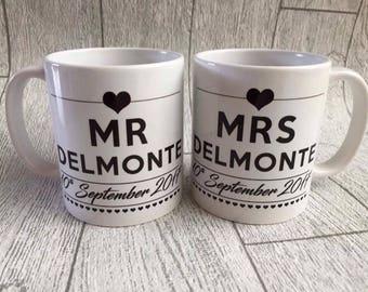 Mr and Mrs mugs,  wedding gift, wedding mugs, wedding day gift