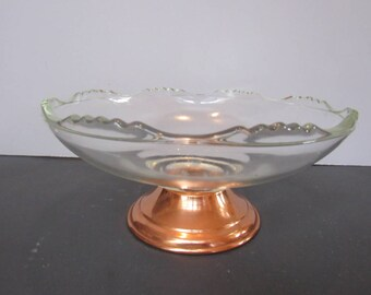 Glass Bowl With Copper Pedestal Trinket Bowl ,Serving Bowl, Soap Dish, Potpourri Bowl    2589