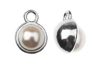 Convex Charm with Swarovski Pearl Silver 925