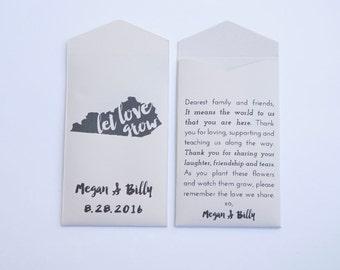 Kentucky Custom Seed Packet Wedding Favors - Kentucky Wedding Favors - Kentucky Wedding - State Flower Wedding Favor - Kentucky Gifts