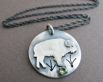 Buffalo Necklace, Sterling Silver Animal, Spirit Animal Jewelry, Birthstone Pendant, Bison Necklace, Wildlife Jewelry, Made to Order