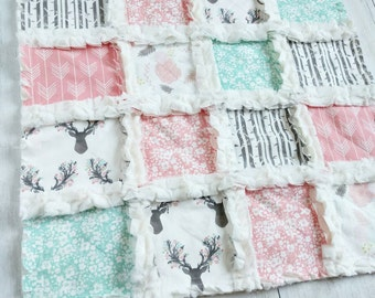 Floral Stag Minky Lovey