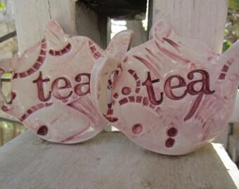 Two Dark Pink Teapot Tea Bag Holders