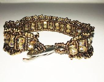 Beaded Bronze and Tiger Eye Bracelet